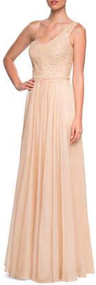 La Femme One-shoulder Embellished Lace Bodice Chiffon Gown