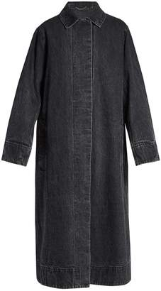 Luster selvedge-denim long-line coat