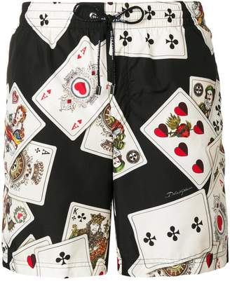Dolce & Gabbana poker cards printed beachwear