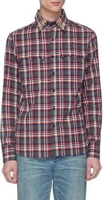 Kolor Star stud collar tartan plaid twill shirt