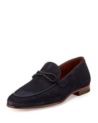 Magnanni for Neiman Marcus Suede Loafer with Woven Leather Strap, Navy $425 thestylecure.com