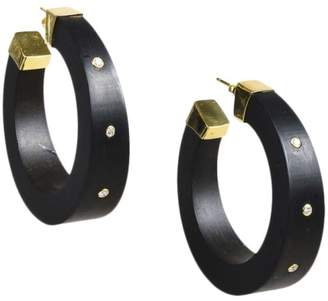 Kara Ross 18K Yellow Gold & Ebony Wood Diamond Open Hoop Earrings