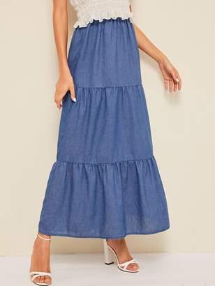 Shein Spliced Elastic Waist Maxi Skirt
