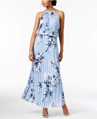 MSK Pleated Blouson Halter Gown