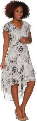 Halston H By H by Petite Rose Print Cap Sleeve Hi-Low Dress