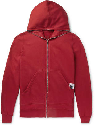 Rick Owens Appliqued Fleece-Back Cotton-Jersey Hoodie - Men - Red