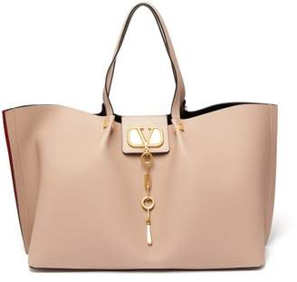 Valentino Go Logo Escape Large Leather Tote Bag - Womens - Nude