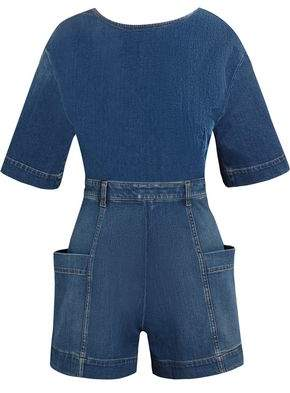 Stella McCartney Open-Back Denim Playsuit