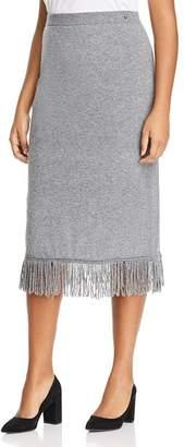 Marina Rinaldi Galateo Fringed Knit Midi Skirt