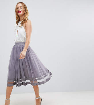 Little Mistress Petite Tulle Midi Skirt