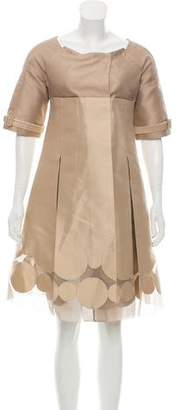 J. Mendel Short Sleeve Knee-Length Dress