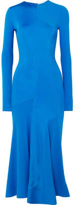 Paneled Stretch-jersey Midi Dress - Cobalt blue