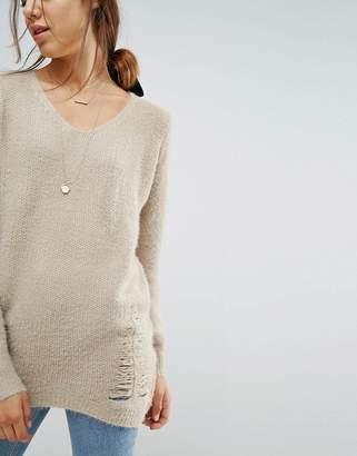 Wild Flower V Neck Distressed Sweater