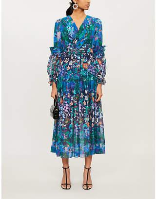 Peter Pilotto Floral-print wrapover silk midi dress