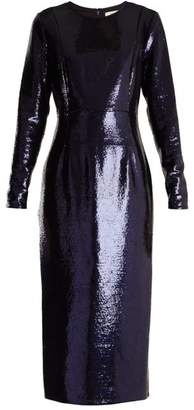 Diane von Furstenberg Round Neck Sequin Embellished Dress - Womens - Navy