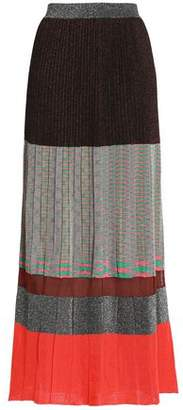 Missoni Pleated Metallic Color-Block Knitted Maxi Skirt