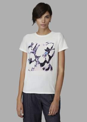 Giorgio Armani T-Shirt With Floral Flocked Print