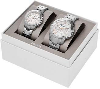 Fossil Grant Chronograph Stainless Steel Watch Box Set Jewelry SET