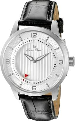 Lucien Piccard Men's 'Grotto' Quartz Stainless Steel and Black Leather Casual Watch (Model: LP-15024-02S)