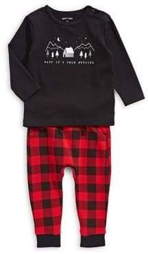 Petit Lem Baby Boy's Two-Piece Printed Top Plaid Cotton Jogger Pants Set