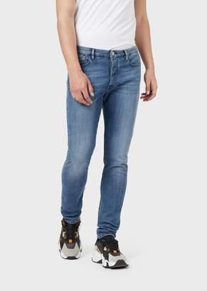 Emporio Armani Extra-Slim J11 Worn Denim Jeans