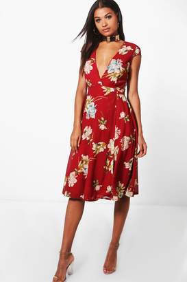 boohoo Floral Print Cap Sleeve Midi Dress