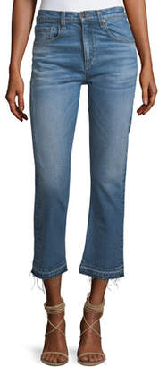Veronica Beard Ines Straight-Leg Girlfriend Jeans w/ Frayed Hem
