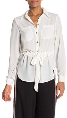 ECI Solid Button Front Drawstring Shirt