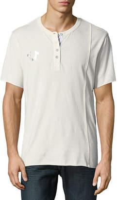 True Religion Raw-Edged Short-Sleeve Henley Shirt
