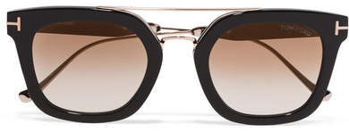 TOM FORD - Square-frame Acetate And Gold-tone Sunglasses - Black