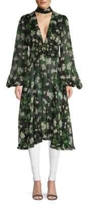 Caroline Constas Syris Floral Silk Choker Tunic