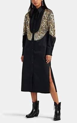 Prabal Gurung Women's Embellished Cotton Shirtdress - Black