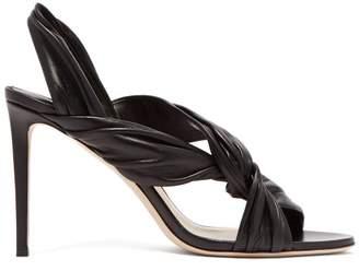 Jimmy Choo Lalia 85 Twisted Leather Slingback Sandals - Womens - Black