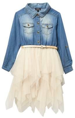 Zunie Long Sleeve Roll Up Tab Belted Dress (Little Girls)