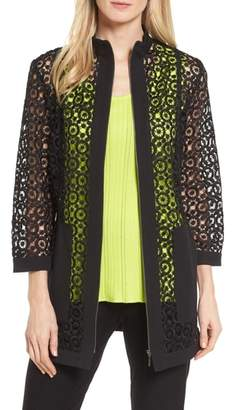 Ming Wang Pointelle Zip Front Jacket