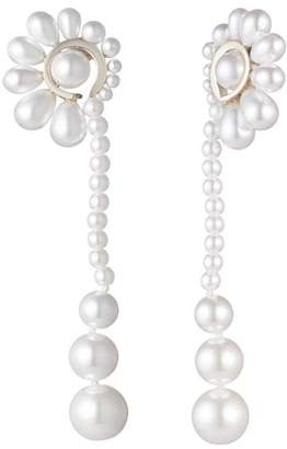 Carolee Simulated Pearl Linear Fan Drop Earrings