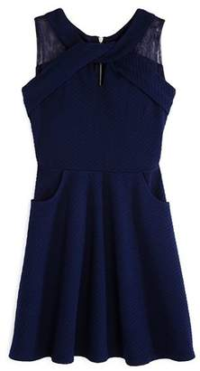 Us Angels Girls' Textured Knit Dress with Pockets - Big Kid