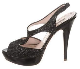 Miu Miu Glitter T-Strap Sandals Black Glitter T-Strap Sandals