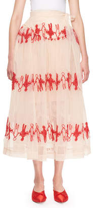 Simone Rocha Tulle Midi Skirt with Fuzzy Doll Embroidery