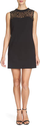 Cynthia Steffe Sleeveless Shift Dress with Velvet-Dot Yoke
