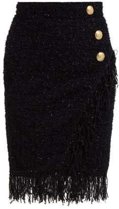 Balmain Fringed Metallic Tweed Skirt - Womens - Black