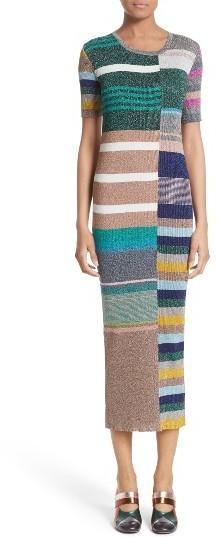 Women's Missoni Metallic Stripe Rib Knit Dress