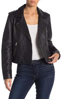 Lucky Brand Pin Dot Leather Moto Jacket