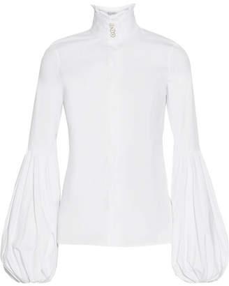 Jacqueline Ruffled Stretch Cotton-blend Blouse - White
