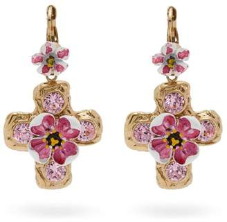 Dolce & Gabbana - Flower And Crystal Embellished Cross Earrings - Womens - Pink
