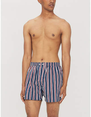 Mens Navy Blue Striped Royal Classic Fit Cotton Boxers