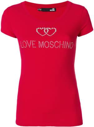 Love Moschino studded logo detail T-shirt