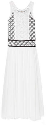 Tory Burch Helena Tulle-trimmed Guipure Lace And Silk-georgette Maxi Dress - White