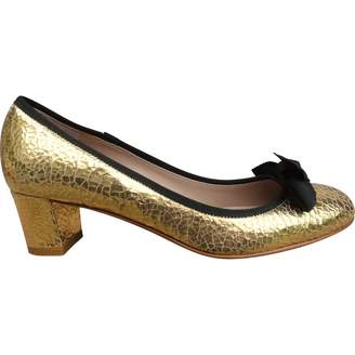 Avril Gau Gold Leather Heels