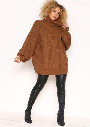 17ab335dd Missy Empire Missyempire Francesca Brown Cable Knit Roll Neck Oversized  Jumper